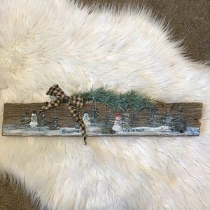 Snowmen Welcome Hand Painted Barn Wood Sign